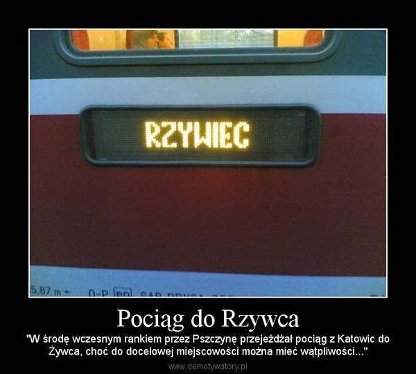"""Pociąg do Rzywca – """"W środę wczesnym rankiem przez Pszczynę przejeżdżał pociąg z Katowic doŻywca, choć do docelowej miejscowości można mieć wątpliwości..."""""""