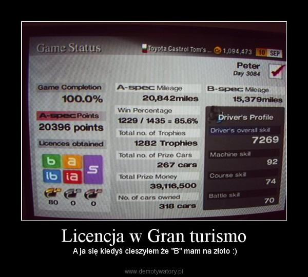 """Licencja w Gran turismo –  A ja się kiedyś cieszyłem że """"B"""" mam na złoto :)"""
