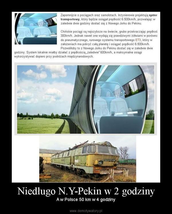 Niedługo N.Y-Pekin w 2 godziny –  A w Polsce 50 km w 4 godziny