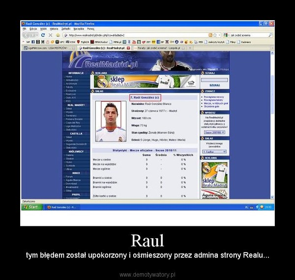 Raul – tym błędem został upokorzony i ośmieszony przez admina strony Realu...