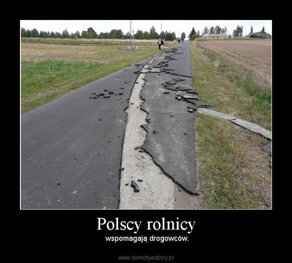 Polscy rolnicy – wspomagają drogowców.