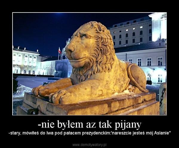 """-nie byłem az tak pijany – -stary, mówiłeś do lwa pod pałacem prezydenckim:'nareszcie jesteś mój Aslanie"""""""