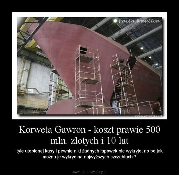 Korweta Gawron - koszt prawie 500 mln. złotych i 10 lat – tyle utopionej kasy i pewnie nikt żadnych łapówek nie wykryje, no bo jak można je wykryć na najwyższych szczeblach ?