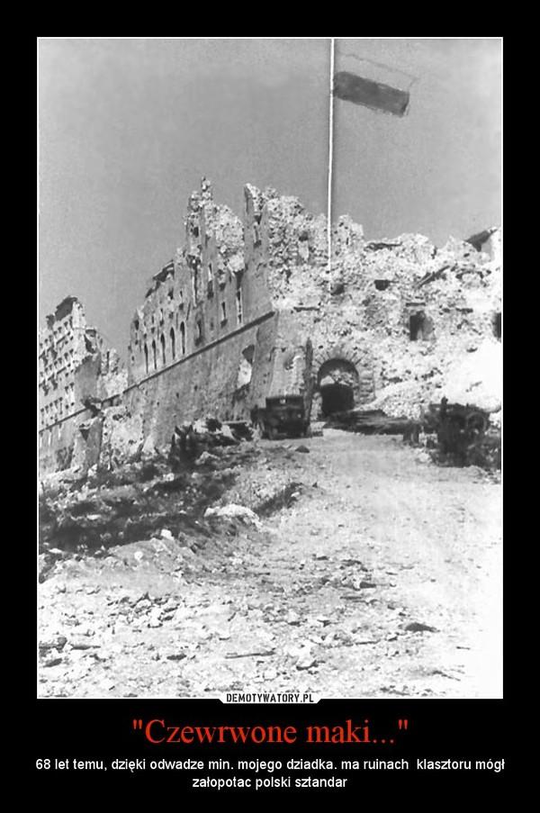 """""""Czewrwone maki..."""" – 68 let temu, dzięki odwadze min. mojego dziadka. ma ruinach  klasztoru mógł załopotac polski sztandar"""
