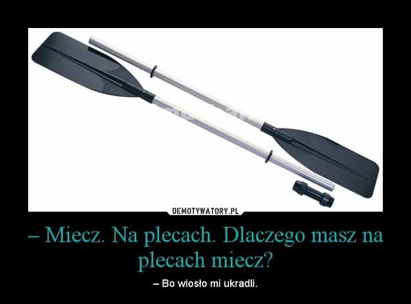 – Miecz. Na plecach. Dlaczego masz na plecach miecz? – – Bo wiosło mi ukradli.
