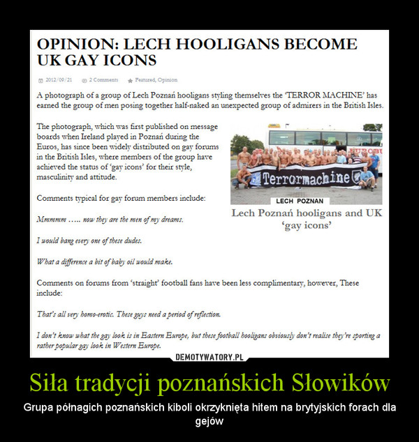 Siła tradycji poznańskich Słowików – Grupa półnagich poznańskich kiboli okrzyknięta hitem na brytyjskich forach dla gejów