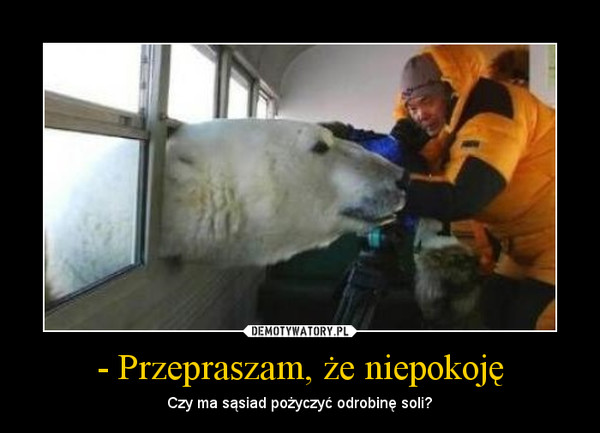 - Przepraszam, że niepokoję – Czy ma sąsiad pożyczyć odrobinę soli?