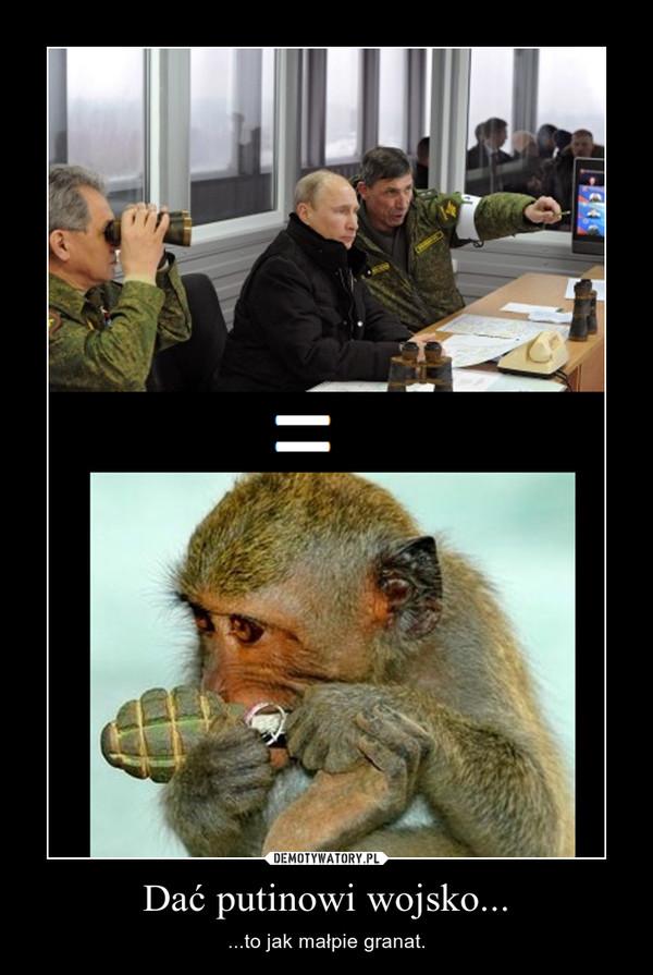 Dać putinowi wojsko... – ...to jak małpie granat.