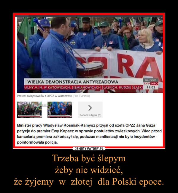 Trzeba być ślepymżeby nie widzieć,że żyjemy  w  złotej  dla Polski epoce. –