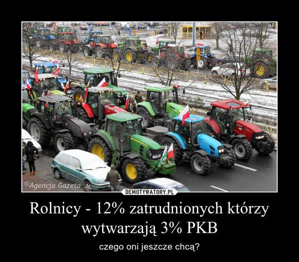 Rolnicy - 12% zatrudnionych którzy wytwarzają 3% PKB – czego oni jeszcze chcą?