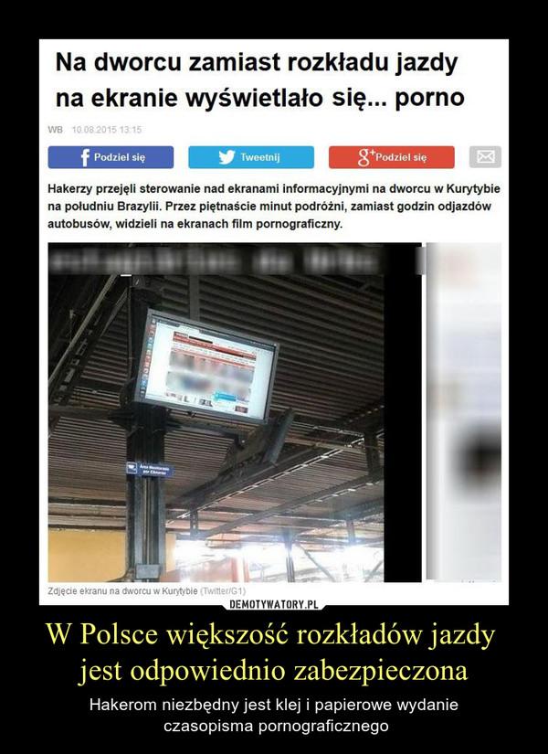 W Polsce większość rozkładów jazdy jest odpowiednio zabezpieczona – Hakerom niezbędny jest klej i papierowe wydanie czasopisma pornograficznego
