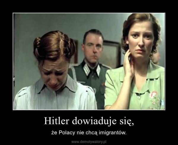 Hitler dowiaduje się, – że Polacy nie chcą imigrantów.
