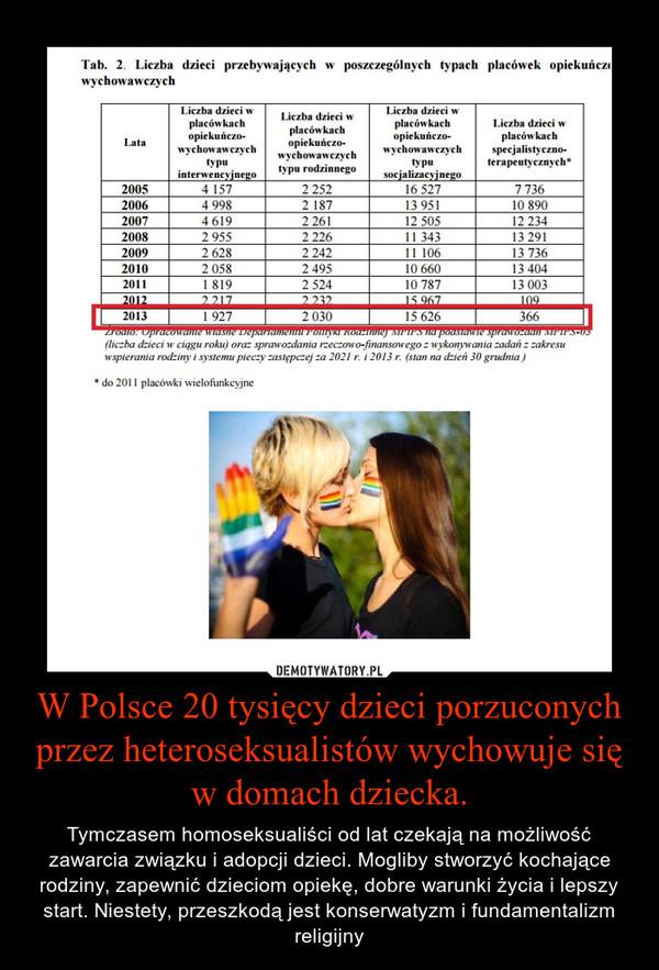 W Polsce 20 tysięcy dzieci porzuconych przez heteroseksualistów wychowuje się w domach dziecka. – Tymczasem homoseksualiści od lat czekają na możliwość zawarcia związku i adopcji dzieci. Mogliby stworzyć kochające rodziny, zapewnić dzieciom opiekę, dobre warunki życia i lepszy start. Niestety, przeszkodą jest konserwatyzm i fundamentalizm religijny