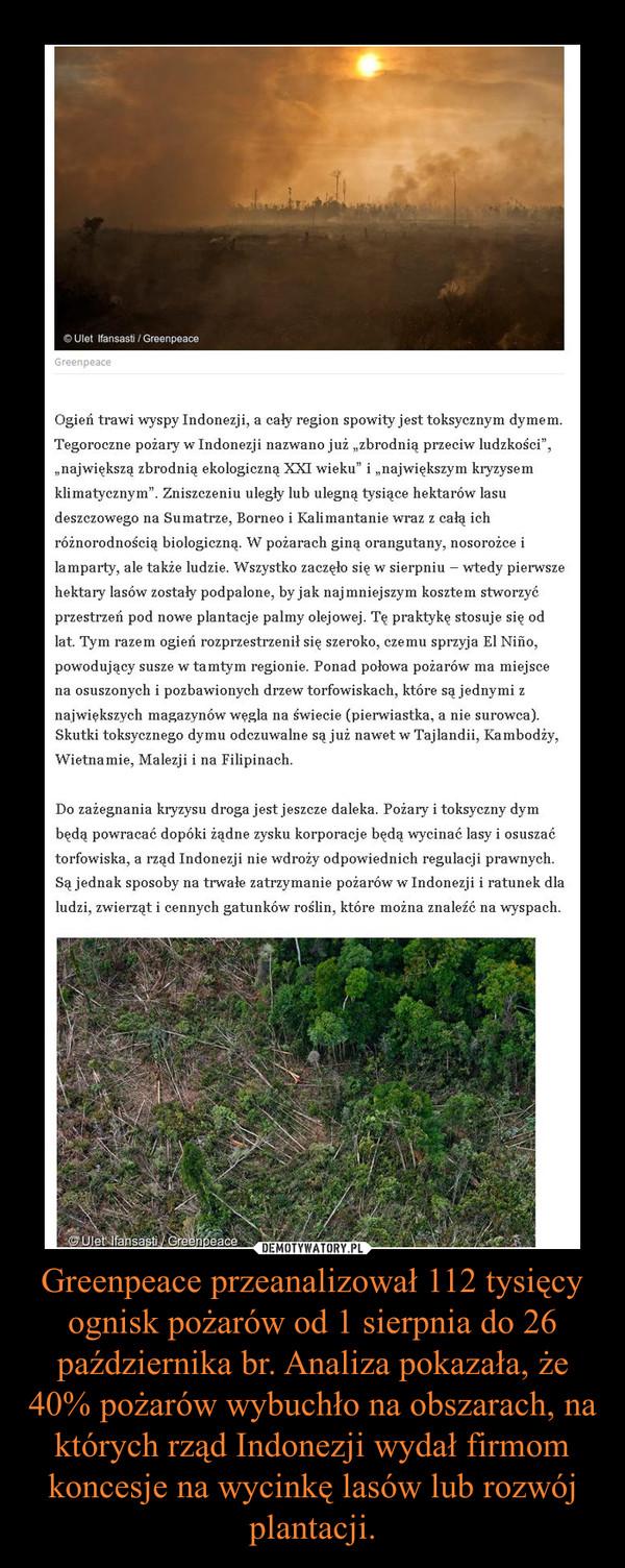 Greenpeace przeanalizował 112 tysięcy ognisk pożarów od 1 sierpnia do 26 października br. Analiza pokazała, że 40% pożarów wybuchło na obszarach, na których rząd Indonezji wydał firmom koncesje na wycinkę lasów lub rozwój plantacji. –