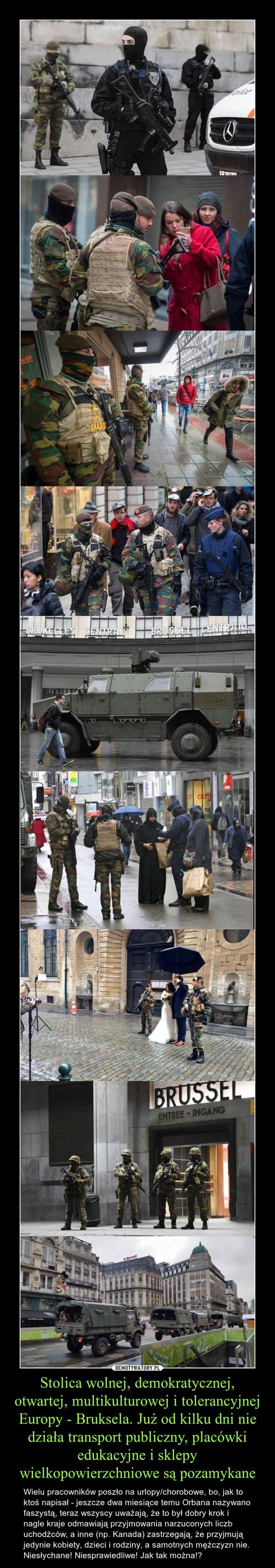Stolica wolnej, demokratycznej, otwartej, multikulturowej i tolerancyjnej Europy - Bruksela. Już od kilku dni nie działa transport publiczny, placówki edukacyjne i sklepy wielkopowierzchniowe są pozamykane – Wielu pracowników poszło na urlopy/chorobowe, bo, jak to ktoś napisał - jeszcze dwa miesiące temu Orbana nazywano faszystą, teraz wszyscy uważają, że to był dobry krok i nagle kraje odmawiają przyjmowania narzuconych liczb uchodźców, a inne (np. Kanada) zastrzegają, że przyjmują jedynie kobiety, dzieci i rodziny, a samotnych mężczyzn nie. Niesłychane! Niesprawiedliwe! Jak tak można!?
