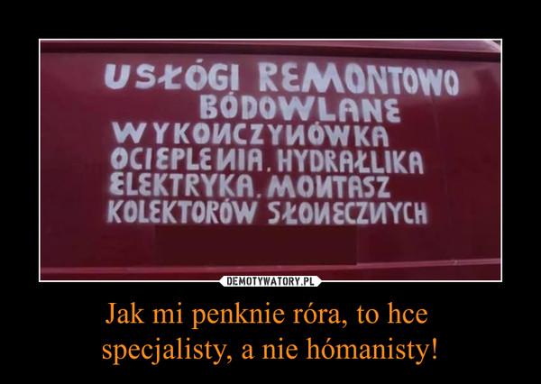 Jak mi penknie róra, to hce specjalisty, a nie hómanisty! –