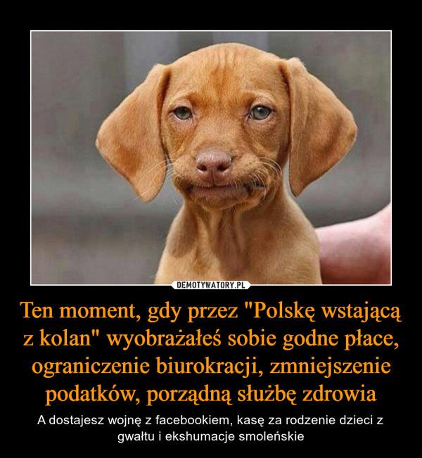 """Ten moment, gdy przez """"Polskę wstającą z kolan"""" wyobrażałeś sobie godne płace, ograniczenie biurokracji, zmniejszenie podatków, porządną służbę zdrowia – A dostajesz wojnę z facebookiem, kasę za rodzenie dzieci z gwałtu i ekshumacje smoleńskie"""