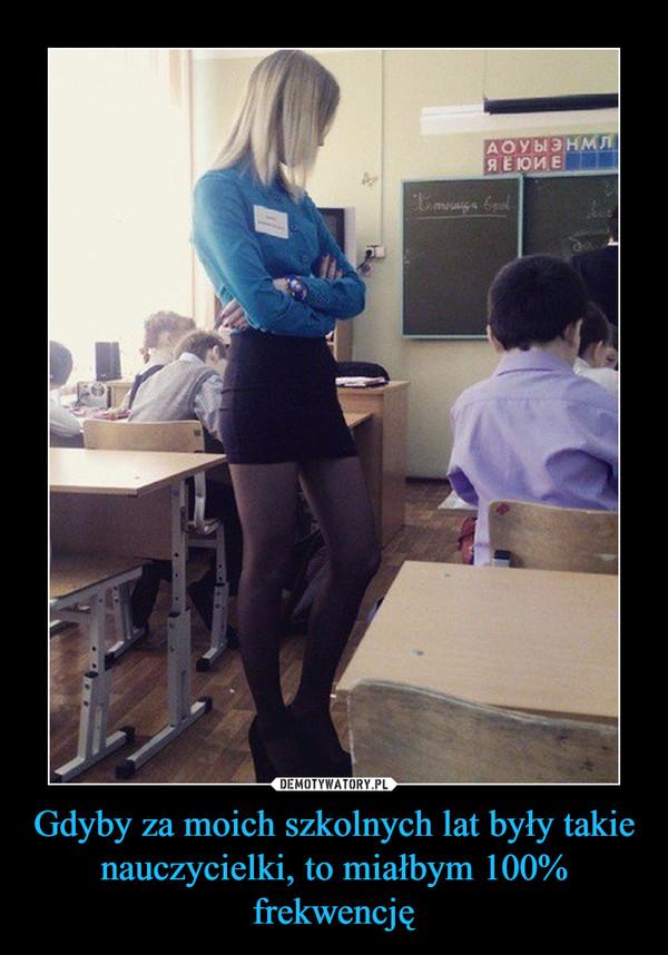 Gdyby za moich szkolnych lat były takie nauczycielki, to miałbym 100% frekwencję –