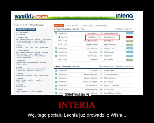 INTERIA – Wg. tego portalu Lechia już prowadzi z Wisłą...