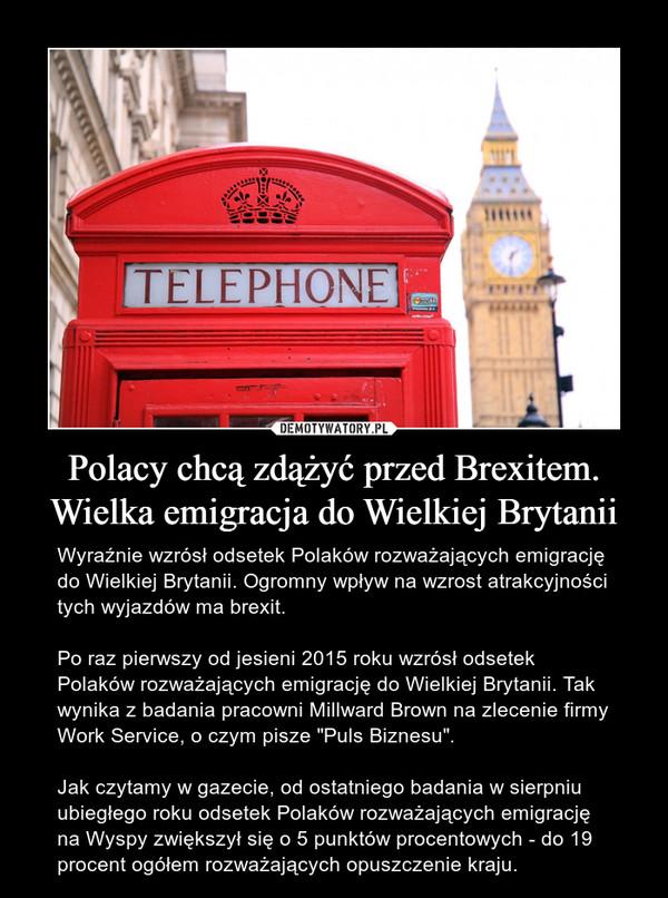 """Polacy chcą zdążyć przed Brexitem. Wielka emigracja do Wielkiej Brytanii – Wyraźnie wzrósł odsetek Polaków rozważających emigrację do Wielkiej Brytanii. Ogromny wpływ na wzrost atrakcyjności tych wyjazdów ma brexit.Po raz pierwszy od jesieni 2015 roku wzrósł odsetek Polaków rozważających emigrację do Wielkiej Brytanii. Tak wynika z badania pracowni Millward Brown na zlecenie firmy Work Service, o czym pisze """"Puls Biznesu"""".Jak czytamy w gazecie, od ostatniego badania w sierpniu ubiegłego roku odsetek Polaków rozważających emigrację na Wyspy zwiększył się o 5 punktów procentowych - do 19 procent ogółem rozważających opuszczenie kraju."""