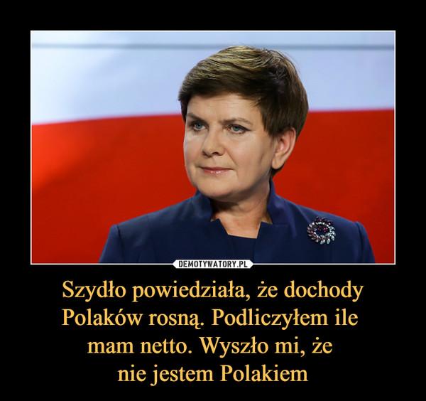 Szydło powiedziała, że dochody Polaków rosną. Podliczyłem ile mam netto. Wyszło mi, że nie jestem Polakiem –