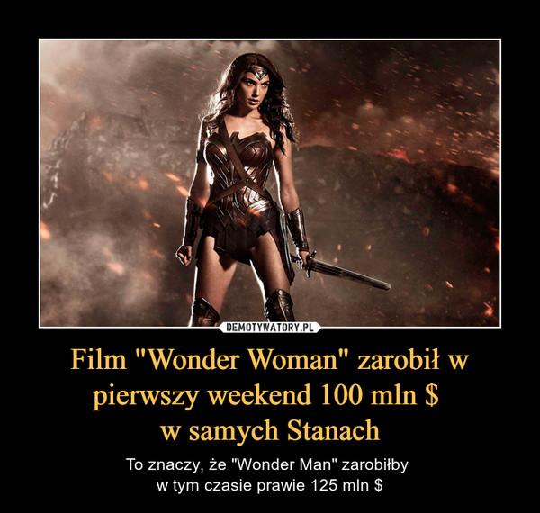 """Film """"Wonder Woman"""" zarobił w pierwszy weekend 100 mln $ w samych Stanach – To znaczy, że """"Wonder Man"""" zarobiłby w tym czasie prawie 125 mln $"""