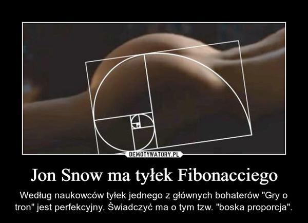 """Jon Snow ma tyłek Fibonacciego – Według naukowców tyłek jednego z głównych bohaterów """"Gry o tron"""" jest perfekcyjny. Świadczyć ma o tym tzw. """"boska proporcja""""."""