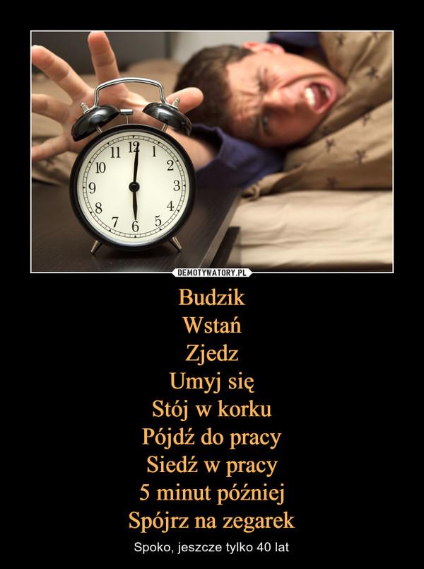 BudzikWstańZjedzUmyj sięStój w korkuPójdź do pracySiedź w pracy5 minut późniejSpójrz na zegarek – Spoko, jeszcze tylko 40 lat