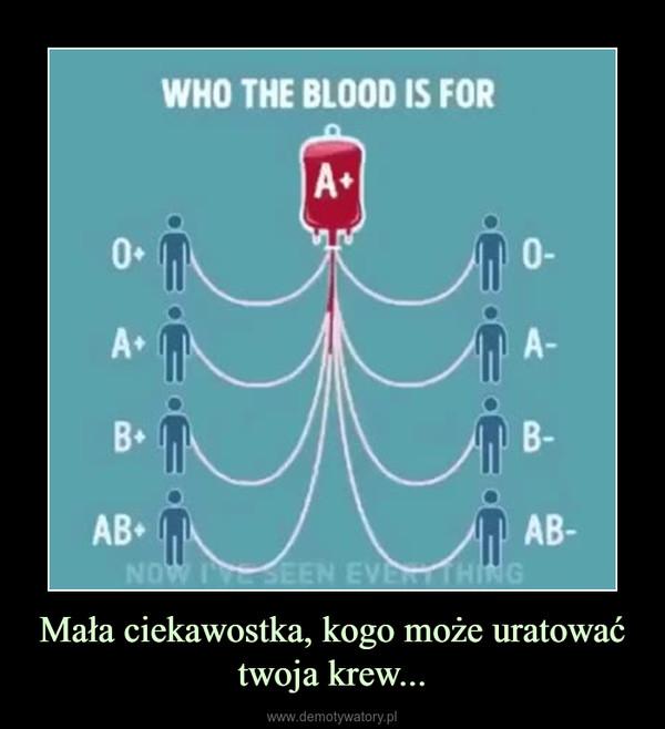 Mała ciekawostka, kogo może uratować twoja krew... –