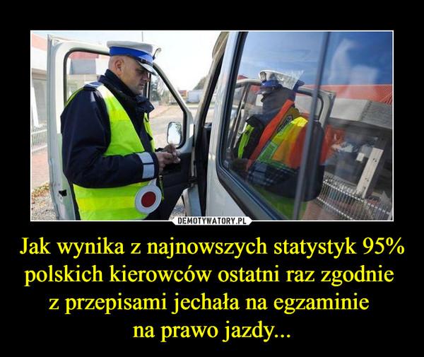 Jak wynika z najnowszych statystyk 95% polskich kierowców ostatni raz zgodnie z przepisami jechała na egzaminie na prawo jazdy... –