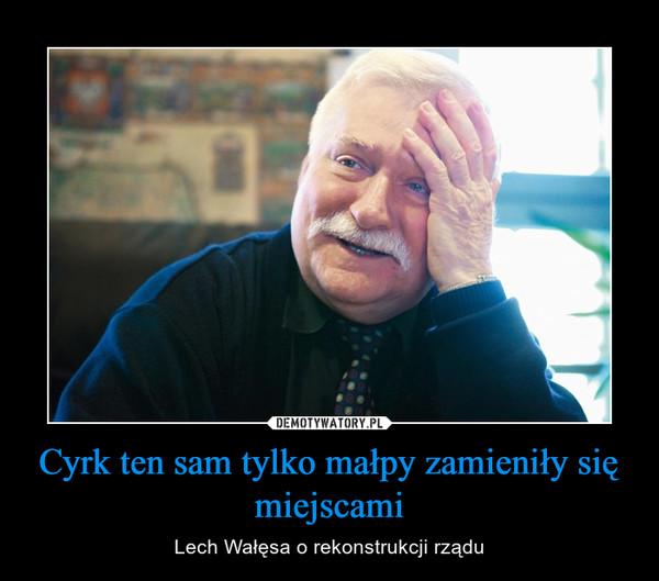 Cyrk ten sam tylko małpy zamieniły się miejscami – Lech Wałęsa o rekonstrukcji rządu