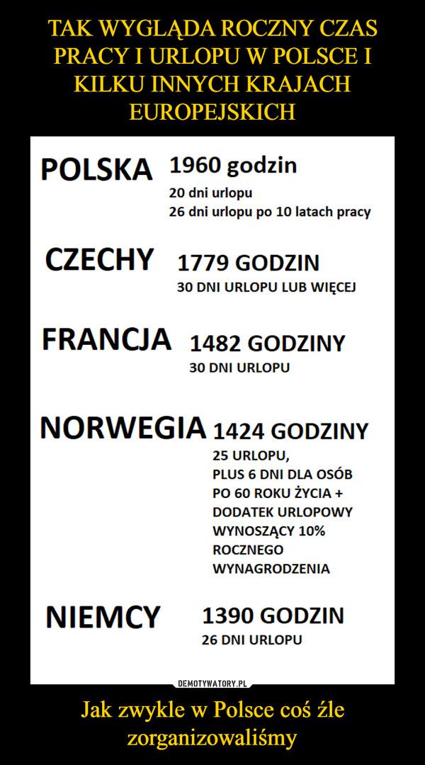 Jak zwykle w Polsce coś źle zorganizowaliśmy –