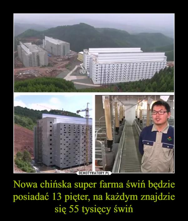 Nowa chińska super farma świń będzie posiadać 13 pięter, na każdym znajdzie się 55 tysięcy świń –