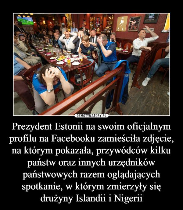 Prezydent Estonii na swoim oficjalnym profilu na Facebooku zamieściła zdjęcie, na którym pokazała, przywódców kilku państw oraz innych urzędników państwowych razem oglądających spotkanie, w którym zmierzyły się drużyny Islandii i Nigerii –