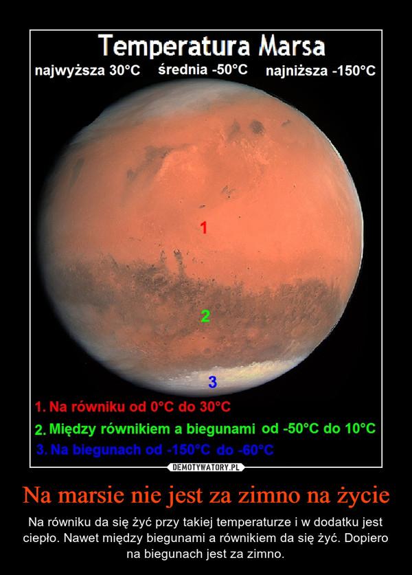 Na marsie nie jest za zimno na życie – Na równiku da się żyć przy takiej temperaturze i w dodatku jest ciepło. Nawet między biegunami a równikiem da się żyć. Dopiero na biegunach jest za zimno.