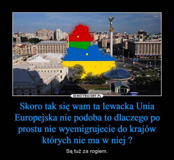 Skoro tak się wam ta lewacka Unia Europejska nie podoba to dlaczego po prostu nie wyemigrujecie do krajów których nie ma w niej ? – Są tuż za rogiem.