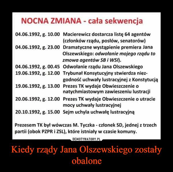 Kiedy rządy Jana Olszewskiego zostały obalone –