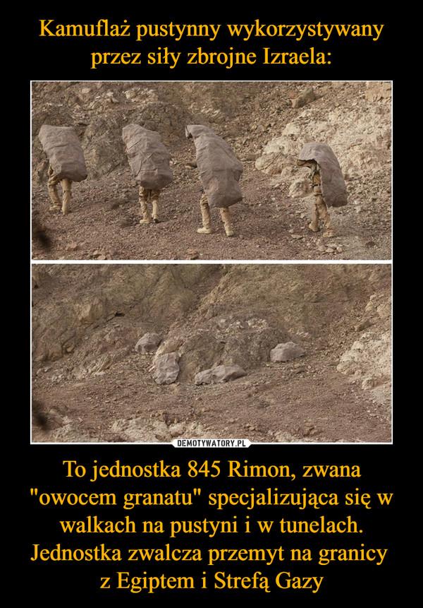 """To jednostka 845 Rimon, zwana """"owocem granatu"""" specjalizująca się w walkach na pustyni i w tunelach. Jednostka zwalcza przemyt na granicy z Egiptem i Strefą Gazy –"""