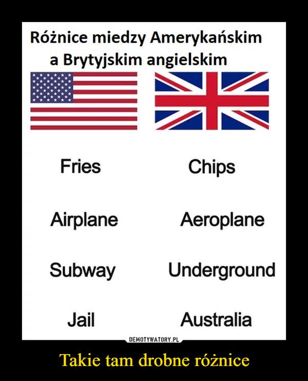 Takie tam drobne różnice –  Różnice miedzy Amerykańskima Brytyjskim angielskimChipsFriesAeroplaneUndergroundAustraliaAirplaneSubwayJail