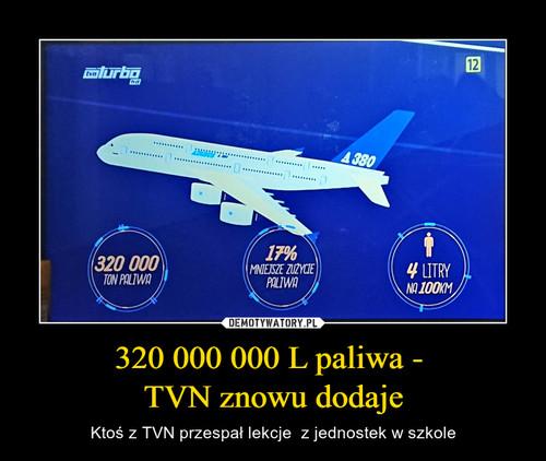 320 000 000 L paliwa -  TVN znowu dodaje