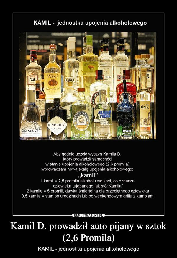 Kamil D. prowadził auto pijany w sztok (2,6 Promila) – KAMIL - jednostka upojenia alkoholowego