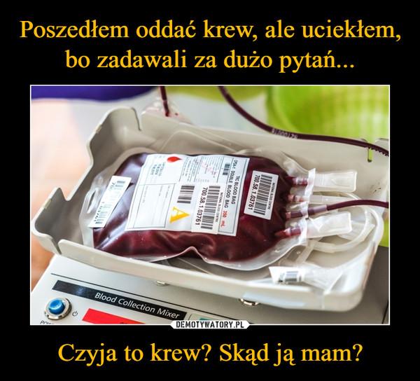 Czyja to krew? Skąd ją mam? –