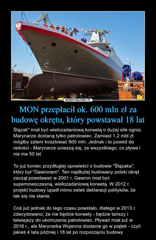 MON przepłacił ok. 600 mln zł za budowę okrętu, który powstawał 18 lat