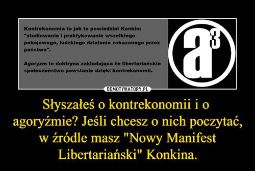 """Słyszałeś o kontrekonomii i o  agoryźmie? Jeśli chcesz o nich poczytać, w źródle masz """"Nowy Manifest Libertariański"""" Konkina."""