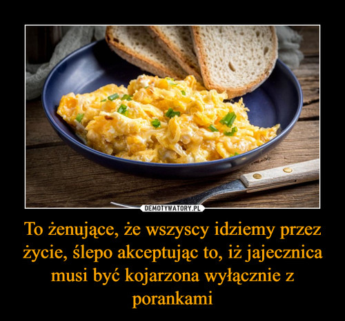 To żenujące, że wszyscy idziemy przez życie, ślepo akceptując to, iż jajecznica musi być kojarzona wyłącznie z porankami