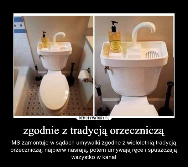zgodnie z tradycją orzeczniczą – MS zamontuje w sądach umywalki zgodne z wieloletnią tradycją orzeczniczą: najpierw nasrają, potem umywają ręce i spuszczają wszystko w kanał