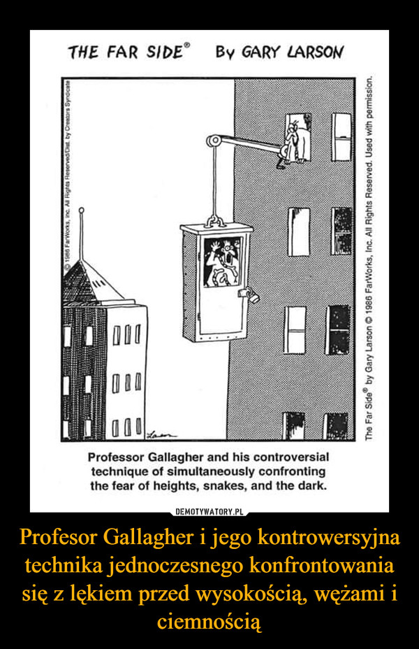 Profesor Gallagher i jego kontrowersyjna technika jednoczesnego konfrontowania się z lękiem przed wysokością, wężami i ciemnością –  THE FAR SIDEBy GARY LARSON000Professor Gallagher and his controversialtechnique of simultaneously confrontingthe fear of heights, snakes, and the dark.O1ne Farworks, inc. A Rights Reserved/Dt by Crentorn SynaicateThe Far Side by Gary Larson © 1986 FarWorks, Inc. All Rights Reserved. Used with permission.