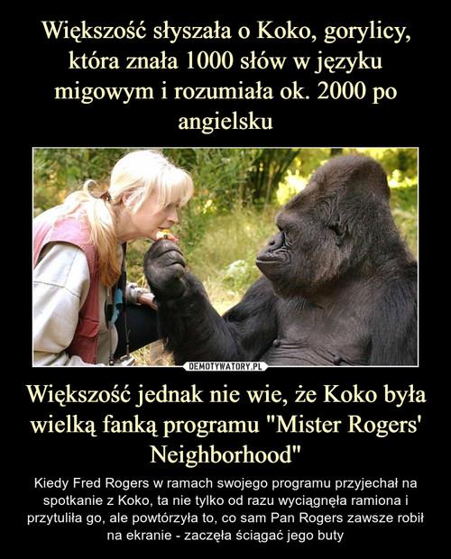 """Większość słyszała o Koko, gorylicy, która znała 1000 słów w języku migowym i rozumiała ok. 2000 po angielsku Większość jednak nie wie, że Koko była wielką fanką programu """"Mister Rogers' Neighborhood"""""""