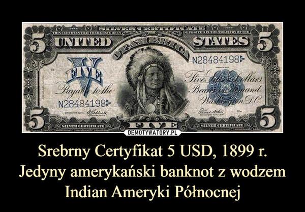 Srebrny Certyfikat 5 USD, 1899 r. Jedyny amerykański banknot z wodzem Indian Ameryki Północnej –