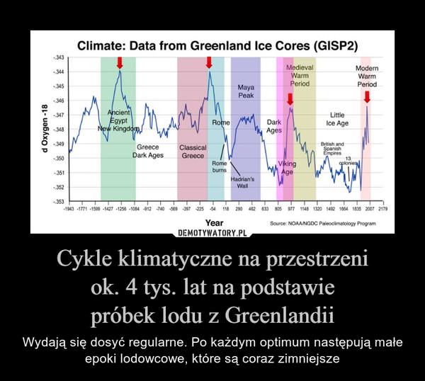 Cykle klimatyczne na przestrzeniok. 4 tys. lat na podstawiepróbek lodu z Greenlandii – Wydają się dosyć regularne. Po każdym optimum następują małe epoki lodowcowe, które są coraz zimniejsze